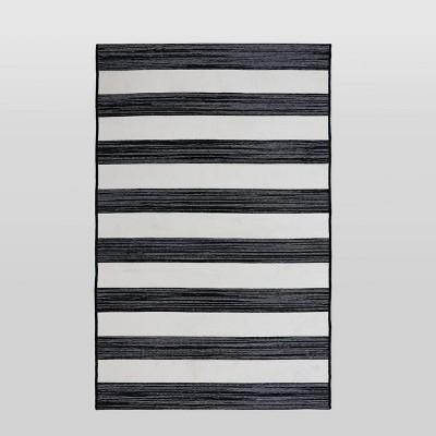 4'x6' Worn Stripe Outdoor Rug Black - Threshold™