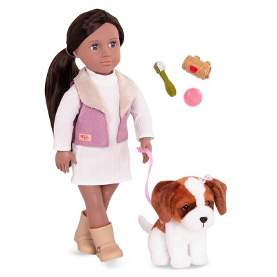 "Our Generation 18"" Doll & Pet Set - Kinzie with Plush Saint Bernard Dog"