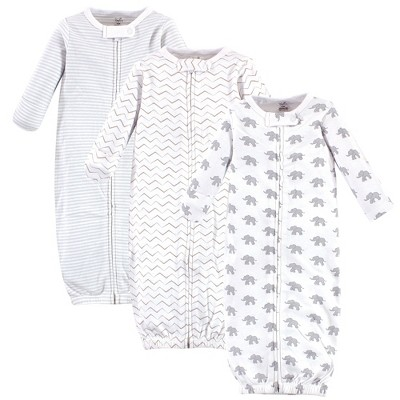 Touched by Nature Baby Organic Cotton Zipper Long-Sleeve Gowns 3pk, Marching Elephant