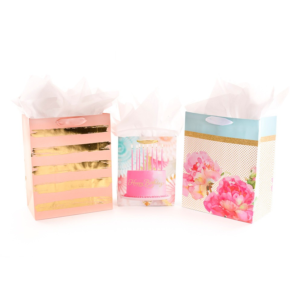 Image of 3ct Gift Bag Bundle With Tissue Paper Pink/Gold - Hallmark