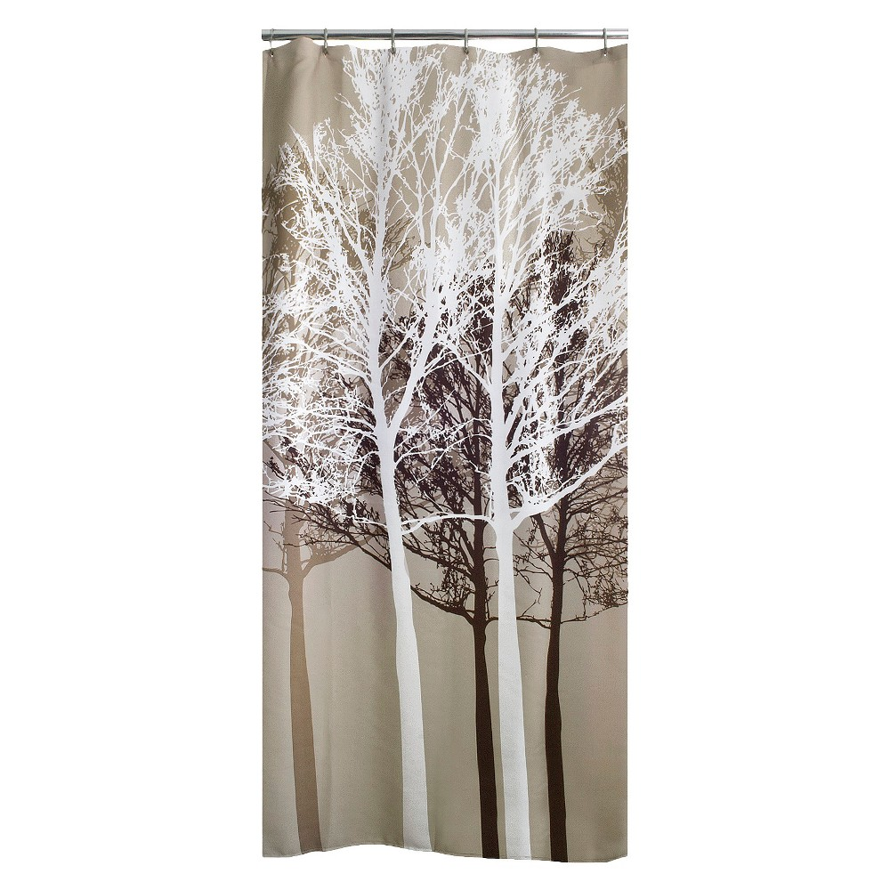 Forest Fabric Shower Curtain Beige