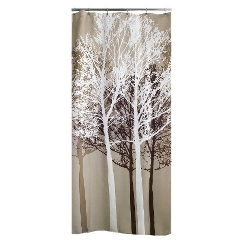Forest Fabric Shower Curtain Beige - image 1 of 2