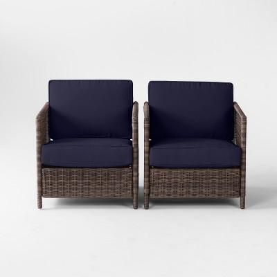 Monroe 2pk Wicker Motion Patio Club Chair - Navy - Threshold™