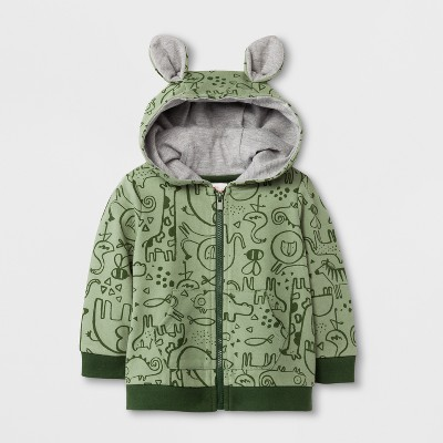 Baby Boys' Printed French Terry Hooded Sweatshirt with Ears - Cat & Jack™ Green 6-9M