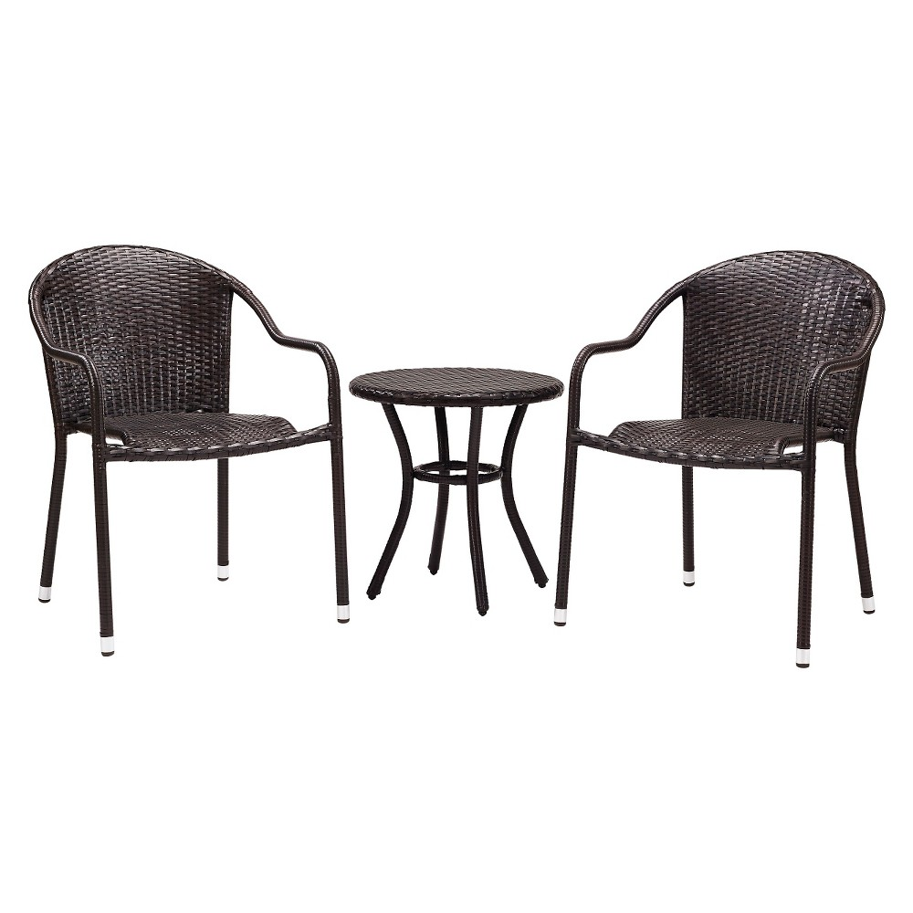 Crosley Palm Harbor 3 Piece Outdoor Wicker Café Seating Set in Brown - 2 Stacking Chairs and Round Side Table