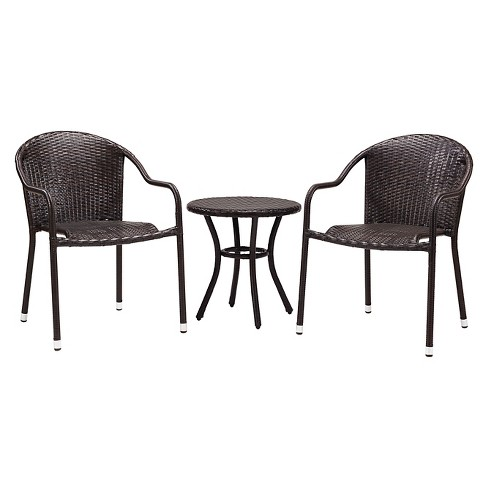 Palm Harbor 3 Piece Outdoor Wicker Café Seating Set - 2 Stacking Chairs and Round Side Table - image 1 of 4