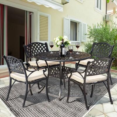 5pc Cast Aluminum Dining Set with Cream Cushions - Nuu Garden