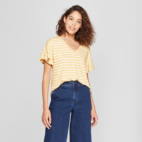 Women's Striped Ruffle Sleeve T-Shirt - A New Day™ - image 1 of 3