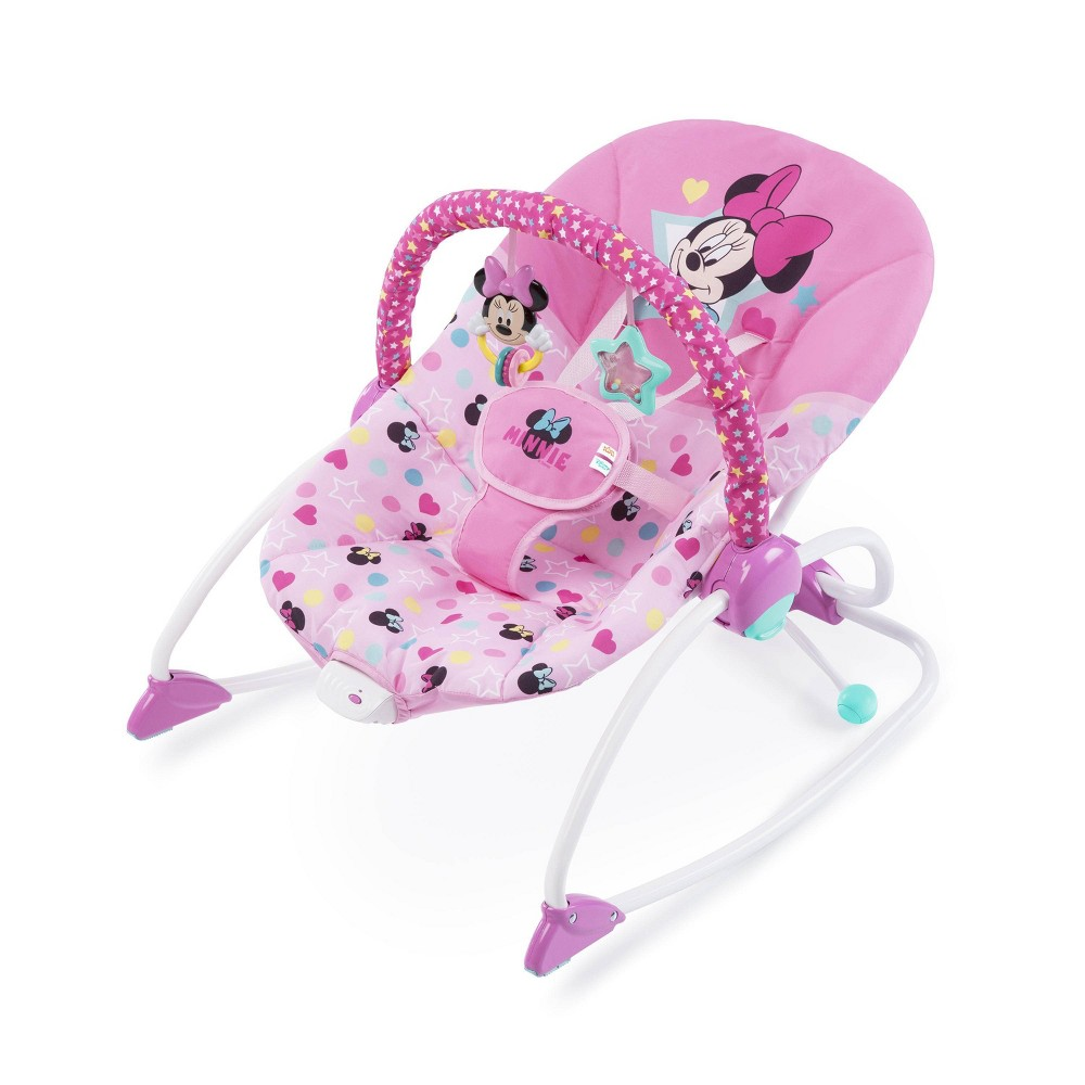 Image of Bright Starts Minnie Mouse Stars & Smiles Infant To Toddler Baby Bouncer Rocker - Pink