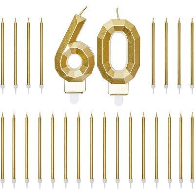 Blue Panda Gold Foil Numbers 60 Cake Topper & 24-Pack Thin Birthday Candles, 60th Birthday Party Decorations