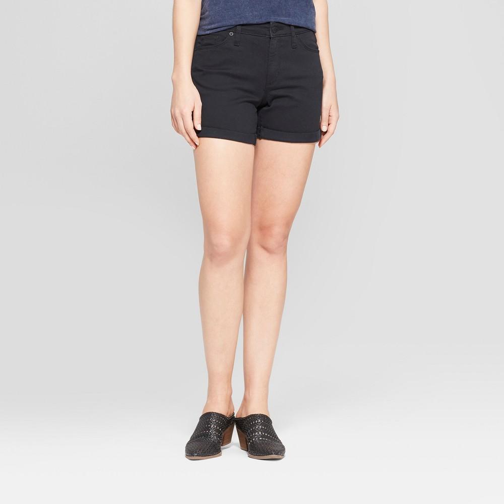 Women's High-Rise Double Cuff Midi Jean Shorts - Universal Thread Black 00
