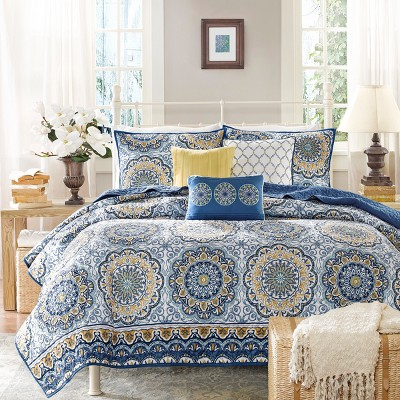 Blue Menara Quilted Coverlet Set 6pc