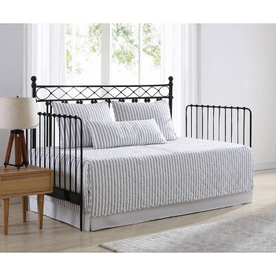 "39"" X 75"" Willow Way Daybed Cover Set Ticking Stripe Gray - Stone Cottage"