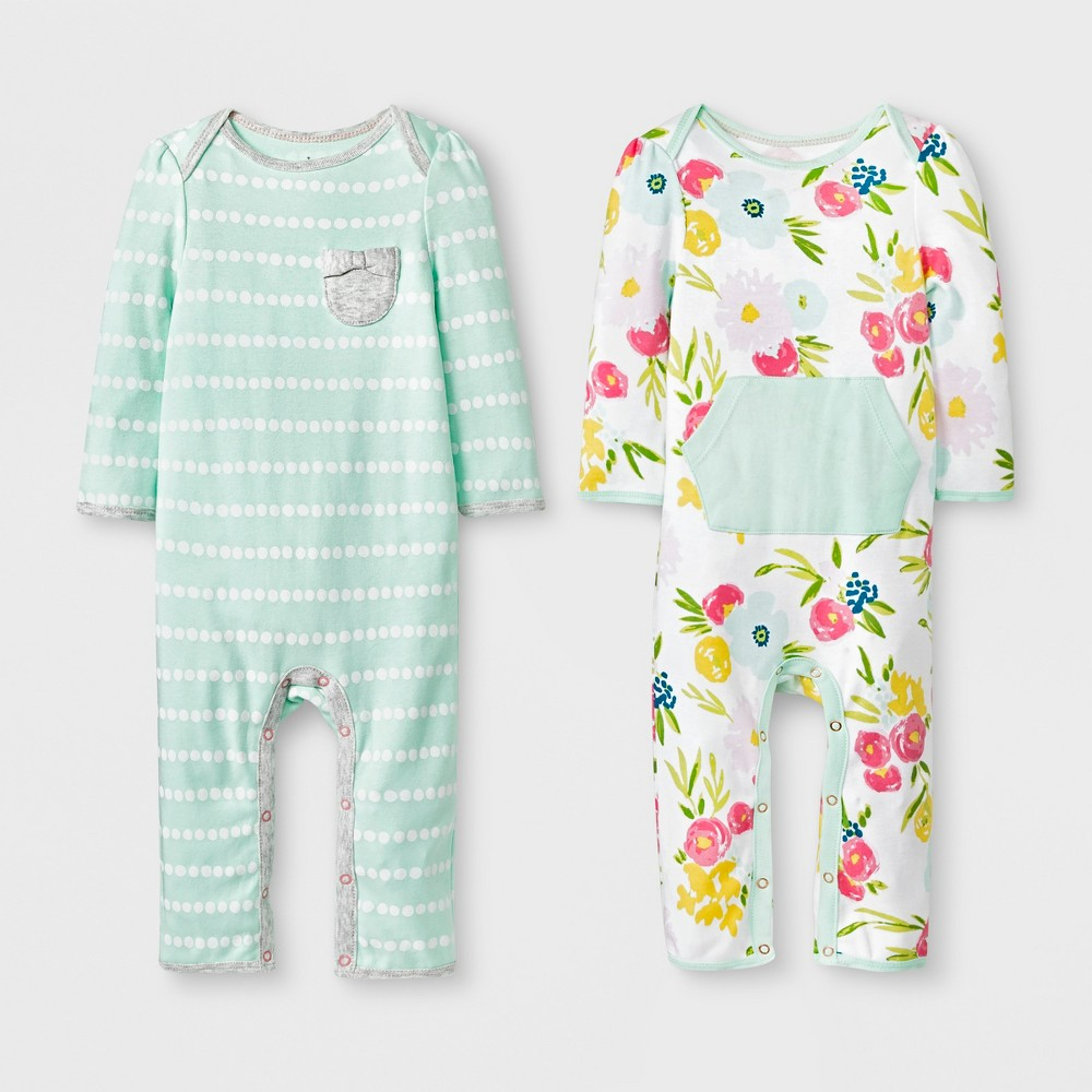 Baby Girls' 2pk Floral/Stripe Rompers - Cloud Island Green/Pink 12M, White