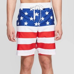 "Men's 13"" Americana Flag Board Shorts - White"