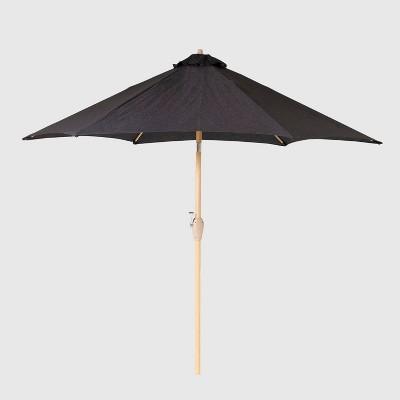 9' Round Patio Umbrella DuraSeason Fabric™ Black - Light Wood Pole - Threshold™