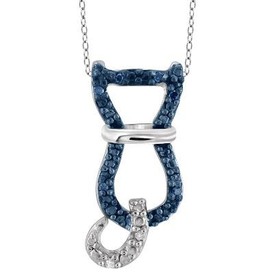 "120 CT. T.W. Round-Cut Blue and White Diamond Pave Set Cat Pendant - White (18"")"