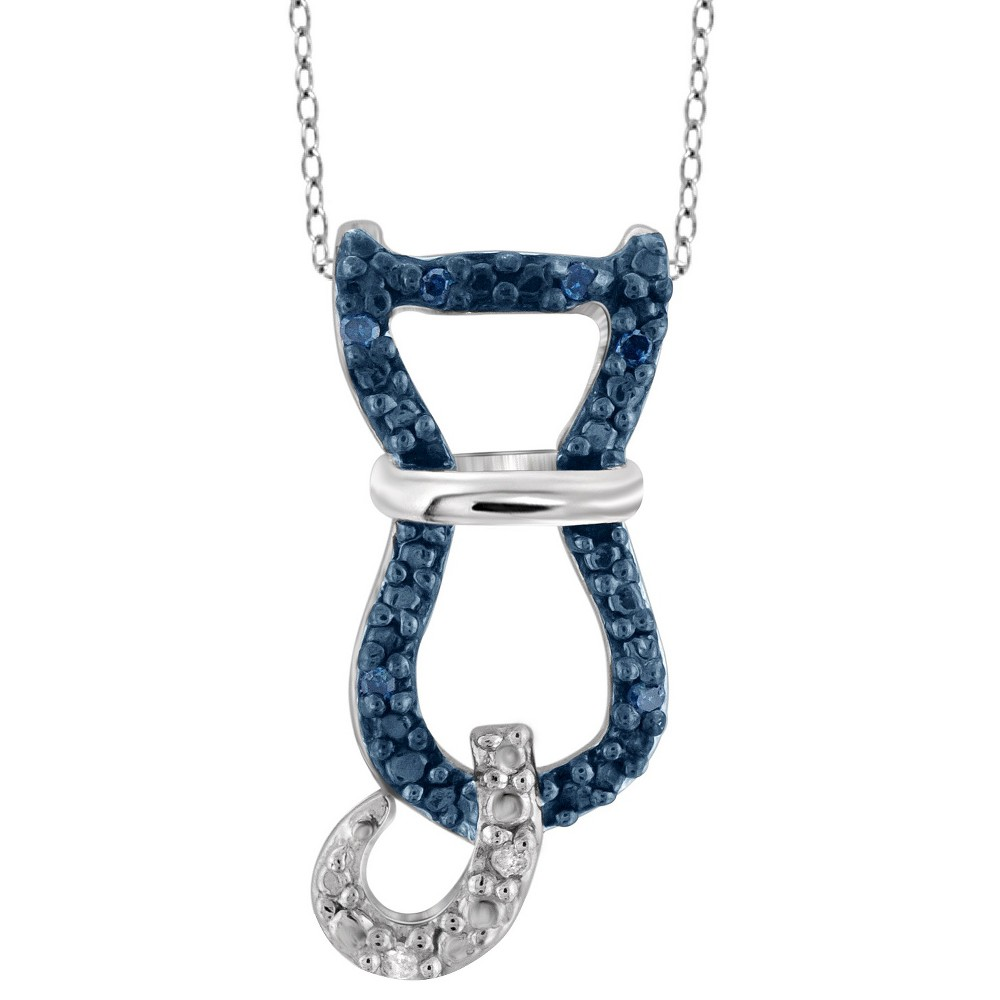 120 CT. T.W. Round-Cut Blue and White Diamond Pave Set Cat Pendant - White (18), Girl's