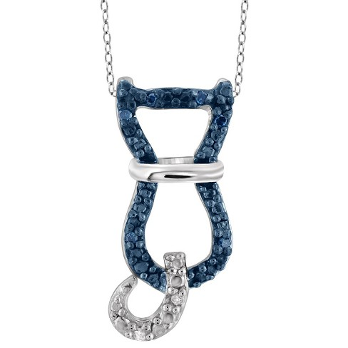 "120 CT. T.W. Round-Cut Blue and White Diamond Pave Set Cat Pendant - White (18"") - image 1 of 2"