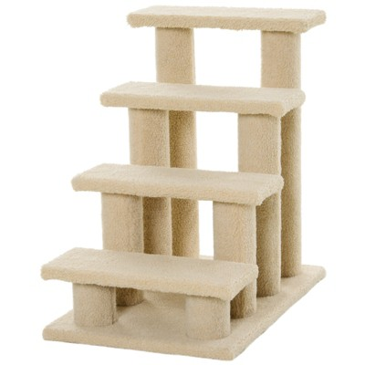 """PawHut 25"""" 4-Step Multi-Level Carpeted Cat Scratching Post Pet Stairs"""