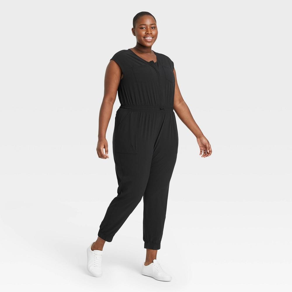 Women 39 S Plus Size Short Sleeve Jumpsuit All In Motion 8482 Black 4x