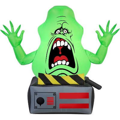 Gemmy Airblown Slimer Ghost on Ghost Trap Ghostbusters , 3.5 ft Tall, green