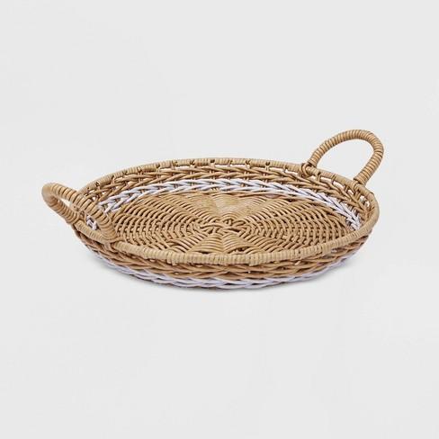 "15"" Round Wicker Decorative Tray Tan & White - Threshold™ - image 1 of 3"