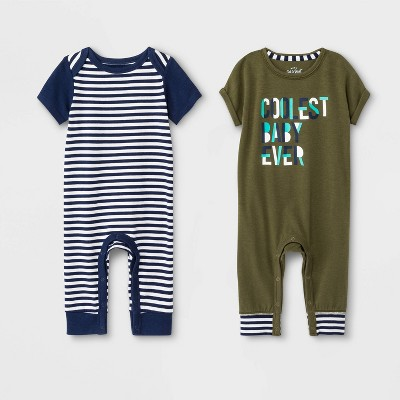 Baby Boys' 2pk Striped & 'Coolest Baby Ever' Rompers - Cat & Jack™ Navy/Green 0-3M