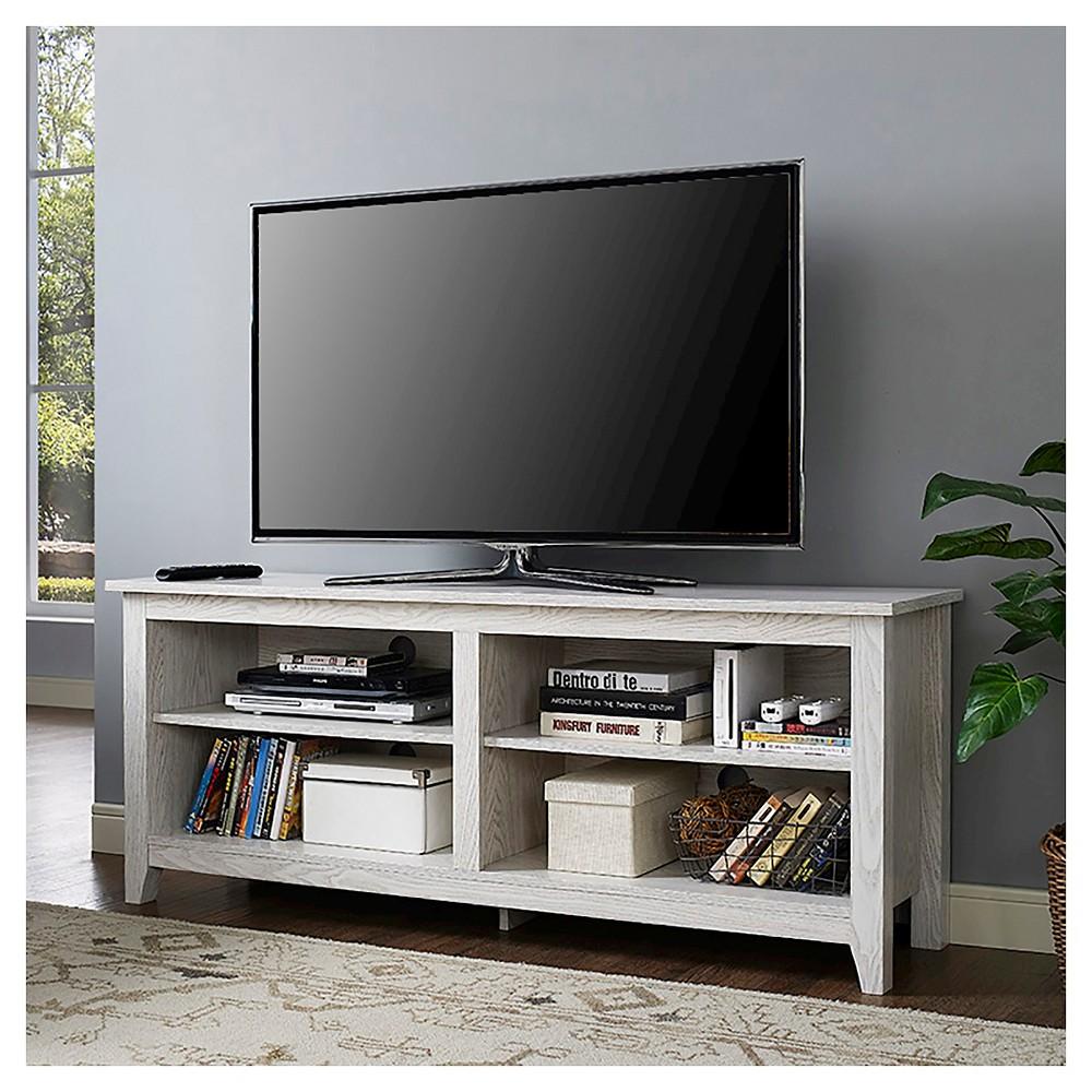 58 Wood TV Media Stand Storage Console - White Wash - Saracina Home