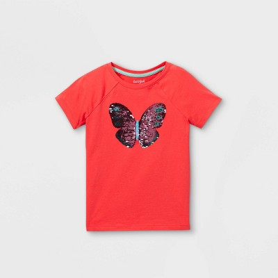 Girls' Flip Sequin Butterfly Short Sleeve T-Shirt - Cat & Jack™ Coral