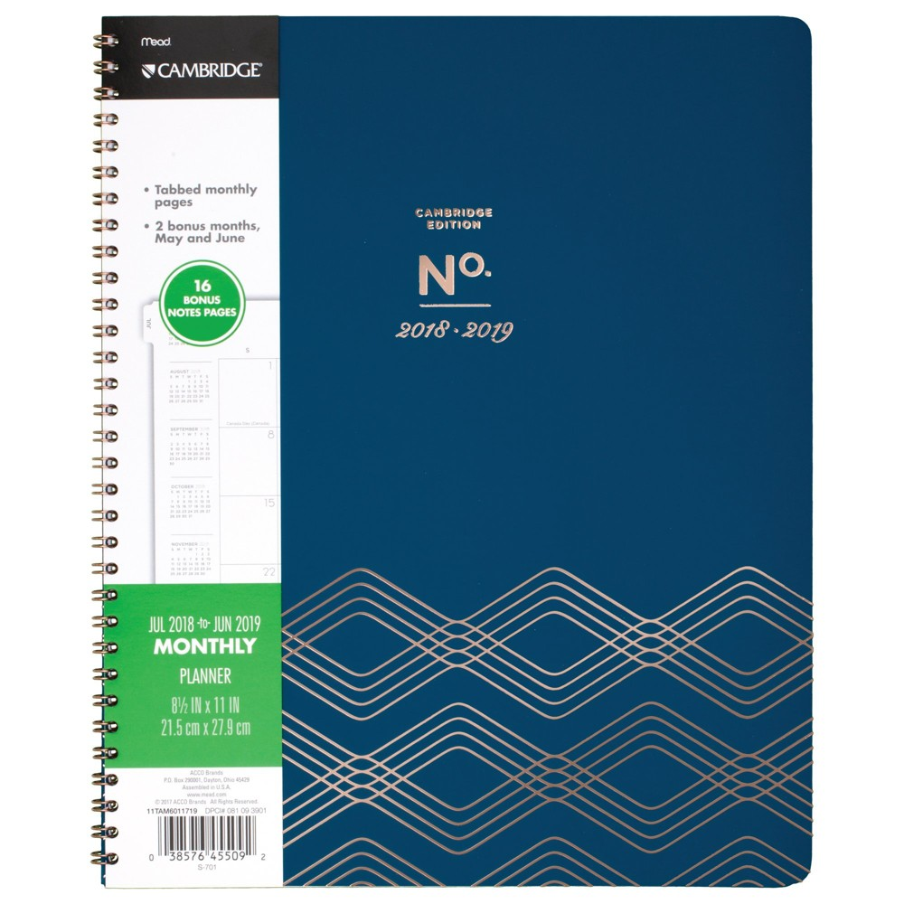 Image of 2018 - 2019 Spiral Planners Cambridge - Teal, Blue