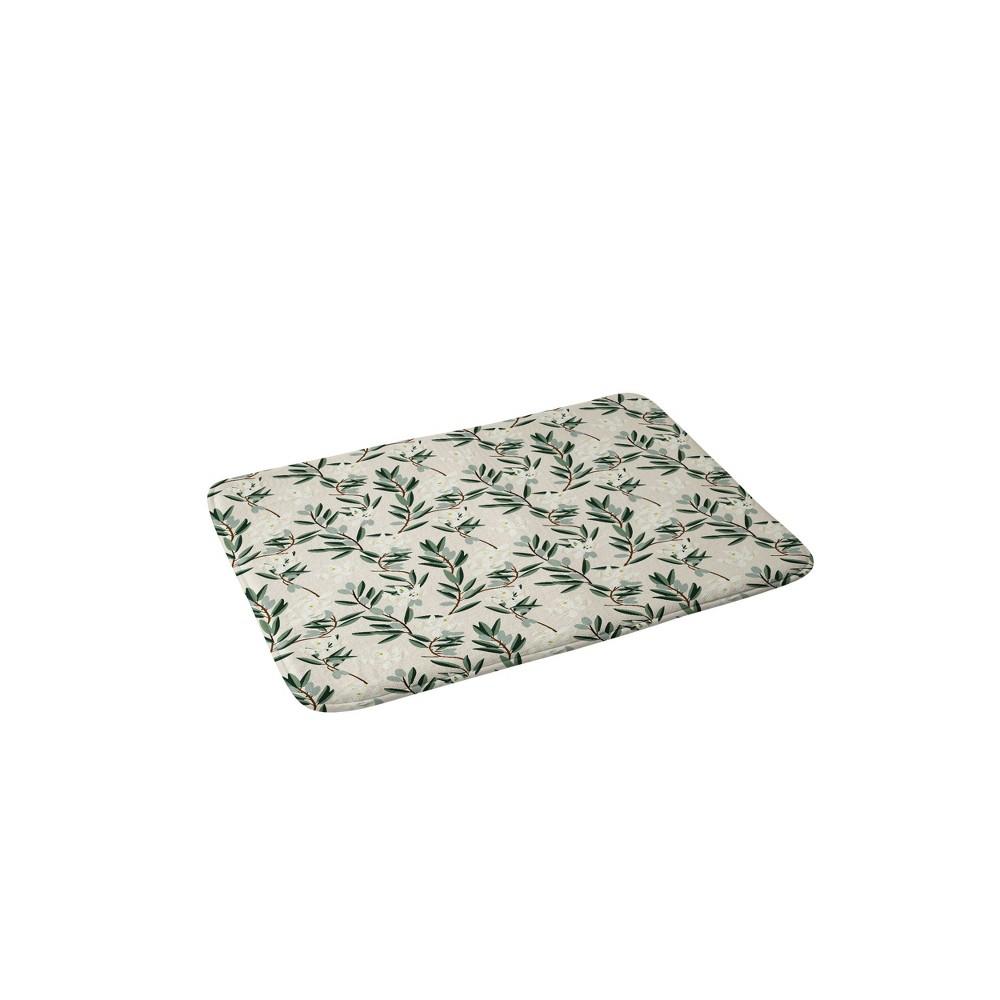 24 x 36 Olive Bloom Bath Rug Green - Deny Designs Compare