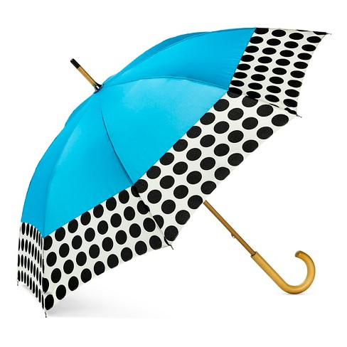 ShedRain Wood Stick Umbrella  - Blue Polka Dot - image 1 of 2