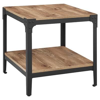 Angle Iron Rustic Wood End Table, Set of 2 - Barnwood - Saracina Home