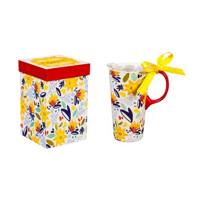 Cypress Home Ceramic Travel Cup With Tritan Lid And Gift Ribbon, 17 Oz, No One Fights Alone