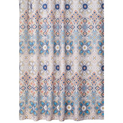 """mDesign Vintage Damask Print, Easy Care Fabric Shower Curtain, 72 x 72"""""""