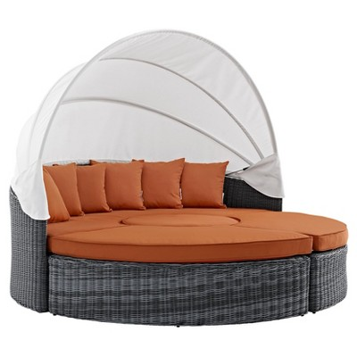 Summon Canopy Outdoor Patio Sunbrella® Daybed in Canvas Tuscan - Modway
