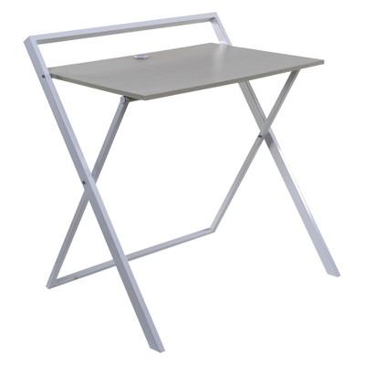 Basics No Assembly Folding Desk with Dual Usb Charger Whitewashed Oak/White - OneSpace