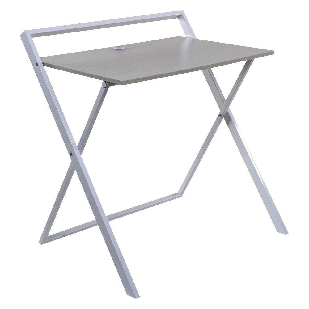 Onespace Basics No Assembly Folding Desk With Dual Usb Charger Whitewashed Oak White
