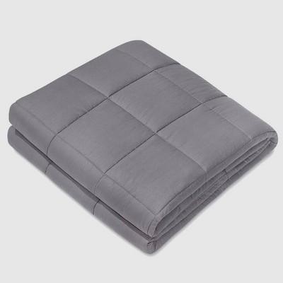 """60"""" x 80"""" 100% Cotton Luxury 17lbs Weighted Blanket Dark Gray - NEX"""
