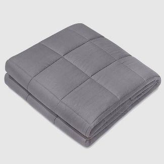 """60"""" x 80"""" 100% Cotton Luxury 15lbs Weighted Blanket Dark Gray - NEX"""