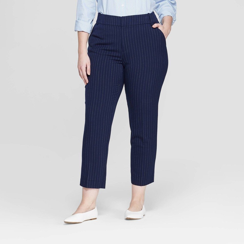 Women's Plus Size Striped Ankle Pants with Comfort Waistband - Ava & Viv Navy 14W, Blue