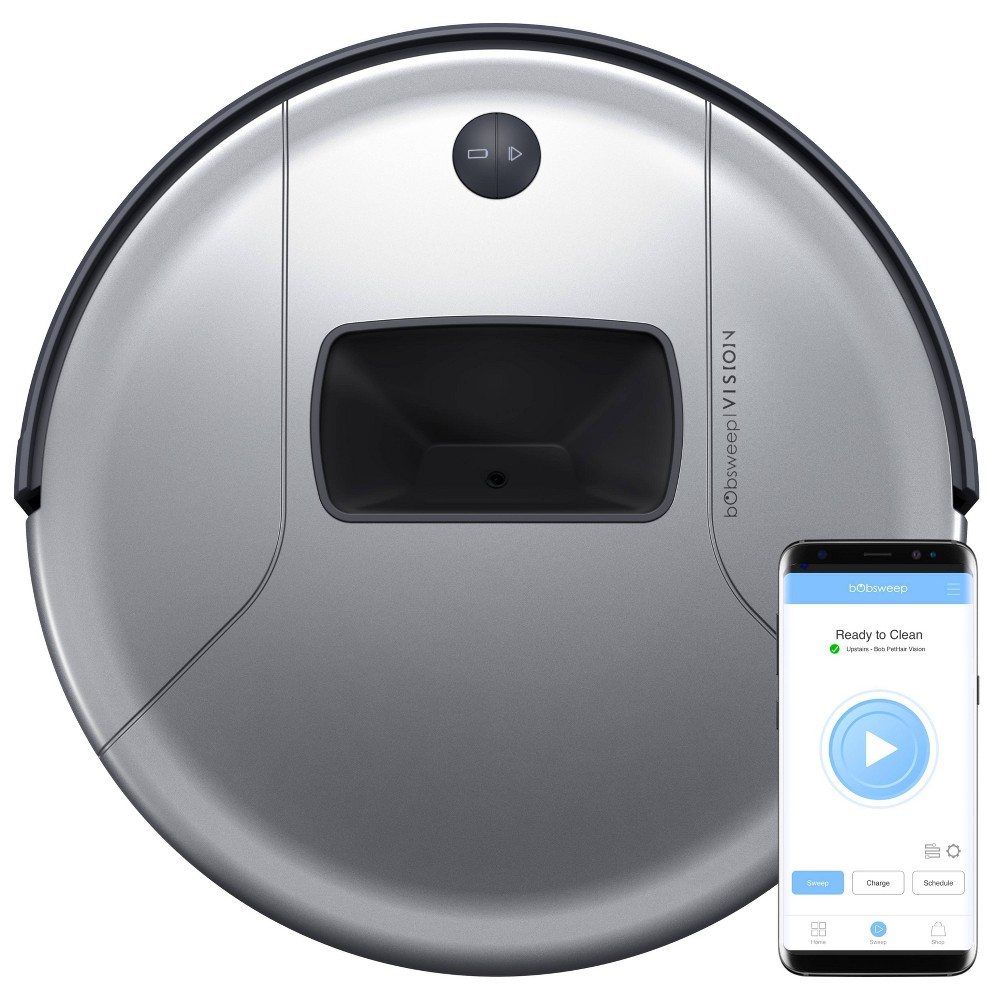 Image of bObsweep PetHair Vision Wi-Fi Connected Robotic Vacuum Cleaner - Steel, Silver