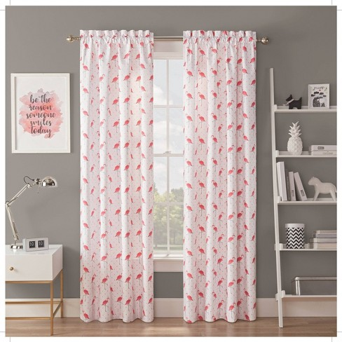 "42""x84"" Flamingo Flock Blackout Curtain Panels Pink - Spree By Waverly - image 1 of 3"