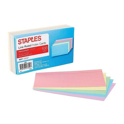 """Staples Heavyweight Ruled 3"""" x 5"""" Index Cards Assorted Pastel 100/PK (51004) TR51004"""