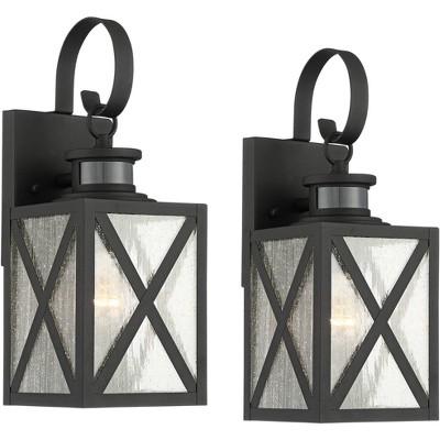 "John Timberland Vintage Outdoor Wall Light Fixtures Set of 2 Textured Black 14 1/2"" Dusk to Dawn Motion Sensor for Exterior House"