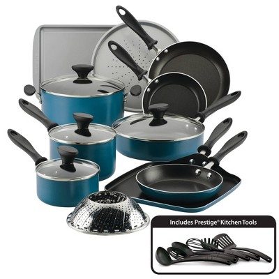 Farberware Reliance 21pc Aluminum Diamond-Reinforced Nonstick Cookware Set Teal
