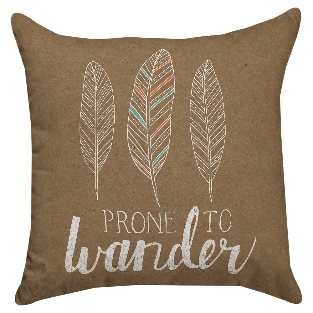 Soft Taupe Prone to Wander Throw Pillow (18x18) Thumbprintz, Brown
