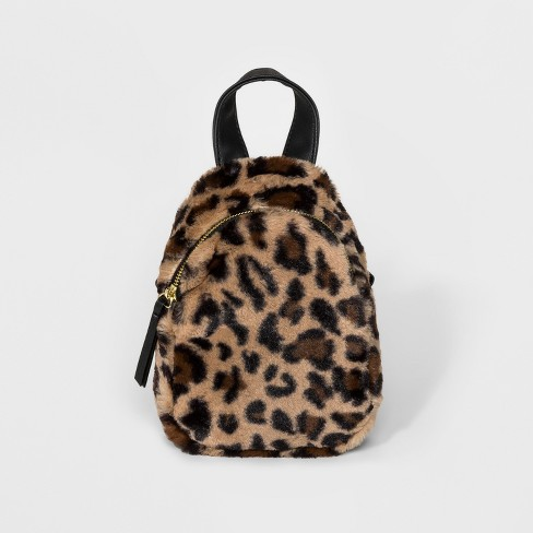 Faux Fur Leopard Print Mini Backpack - Wild Fable™ Brown - image 1 of 6