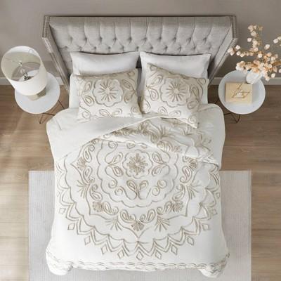 Valeria 3 Piece Tufted Cotton Chenille Comforter Set